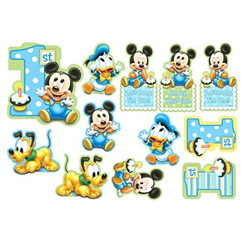 12-Piece Mickey's 1st Birthday Value Pack Cutout Decor, (Baby Mickey Mouse 1st Birthday Party Supplies)