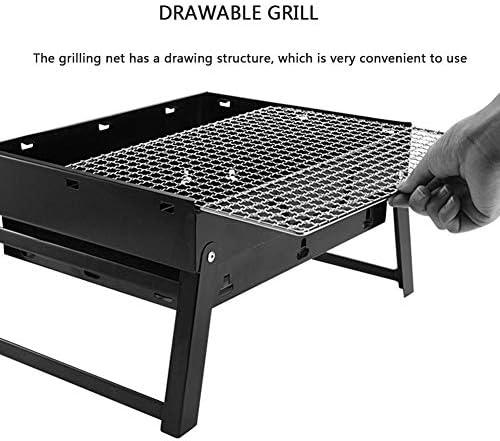 Woniu Grill Barbecue À Charbon De Table Pliable, Barbecue Au Charbon Portable avec Acier Inoxydable pour Jardin Familial Extérieur