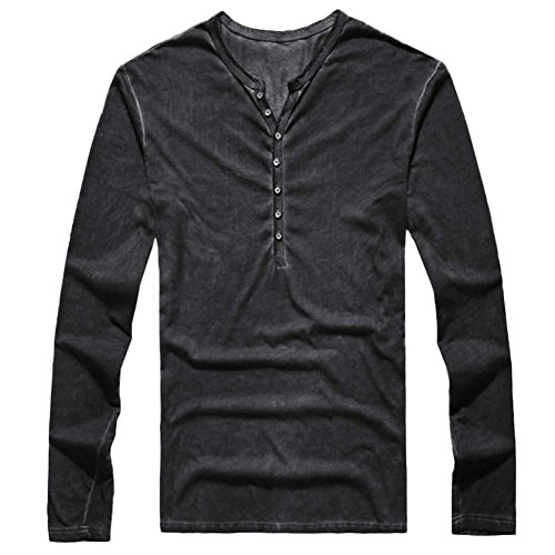 HTHJSCO Mens V Neck Cotton Linen Hippie Shirts Long Sleeve Casual Henley T-Shirt Top, Mens Henry Collar Button Slim Blouse (Black, M) by HTHJSCO