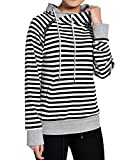 Begonia.K Women's Striped Hoodie Side Zipper Pullover Double Hooded Sweatshirt, White Stripe, Large