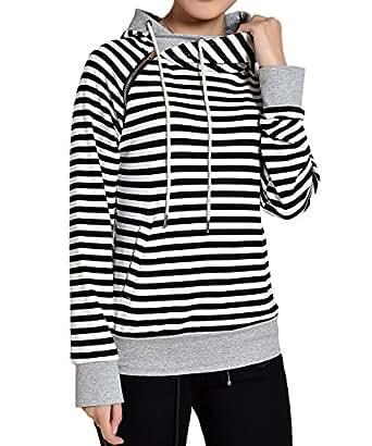 Begonia.K Women's Striped Hoodie Side Zipper Pullover Double Hooded Sweatshirt, White Stripe, Small