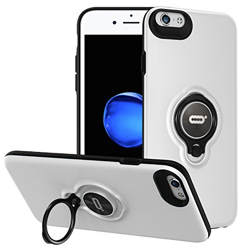 iPhone 6s / iPhone 6 Case with Ring Holder Kickstand Function, 360 Degree Rotating Ring Holder Grip Case Ultra Slim Thin Hard Cover for iPhone 6s / 6(4.7inch) (White)