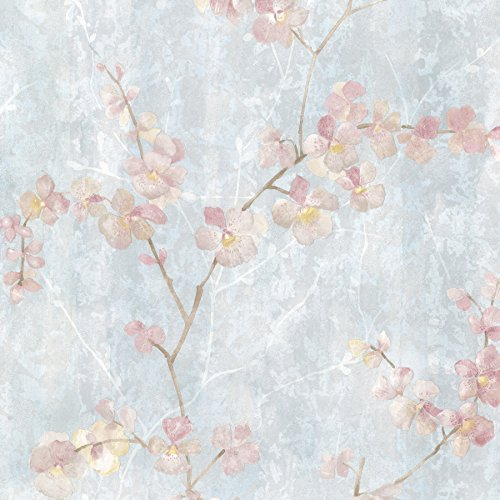 Brewster 347-20102 Chapman Cherry Blossom Trail Wallpaper, Blue (Cherry Wallpaper)