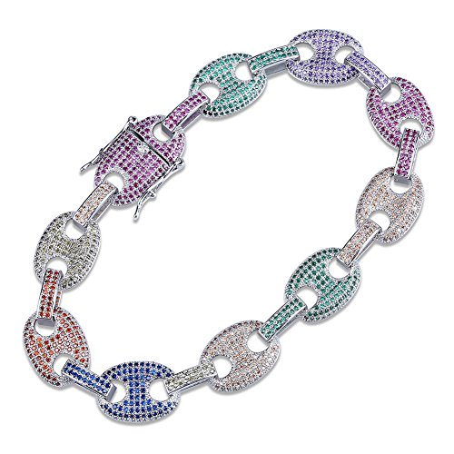 (JINAO Mens Lab Diamonds Rainbow Iced Out Hip Hop Mariner Link Bracelet (Silver, 7))