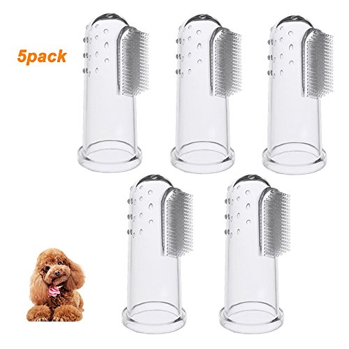 Silicone Finger Toothbrush For Dogs Cats and Most Pets Food Grade Material Crystal (5 Pack) ()