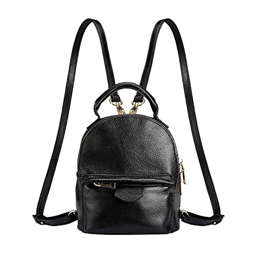 Genda 2Archer Cute Mini Genuine Leather Girls Backpack (Black 2)