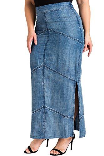 Standards & Practices Plus Size Modern Women's Tencel Denim Maxi Pencil Skirt Size 2X