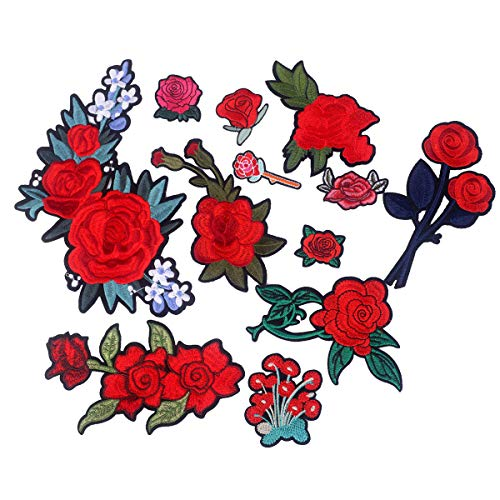 Iron-on Flower Patches (Set of 12) - Embroidered Appliques, Repair and Decorate Clothing, Bags - by Beaulegan