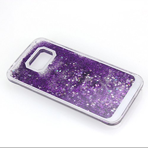 AENMIL Samsung Galaxy S6 edge Quicksand Cover, 3D Bling Liquid circumstance for Samsung S6 edge,Flowing Liquid Floating Quicksand Sparkle Star Glitter Hard circumstance for Samsung Galaxy S6 edge G9250 (Purple)