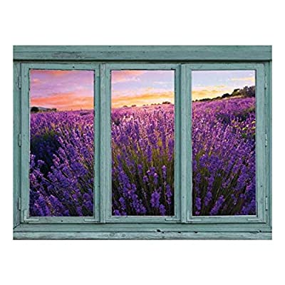 Lavender Field in Full Bloom with a Setting Sun in The Distance Gold Pink and Blue Sky Wall Mural, Original Creation, Pretty Craft