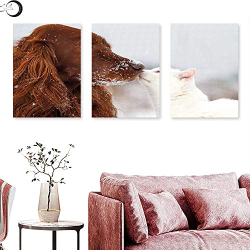 (J Chief Sky Winter Poster Prints Irish Setter and Cute White Cat in Snow Playing Together Friendship Love Adornment Wall Panel Art Triptych Art Canvas W 20