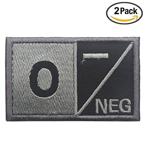 Tactical Blood Type O- Negative NEG Hook and Loop Patch 3.15