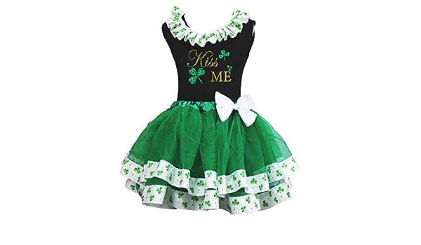 Petitebella Kiss Me Black Shirt Green Clover Petal Skirt Nb-8y