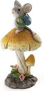 Miniature Dollhouse FAIRY GARDEN - Tiny Mouse on Mushroom - Accessories