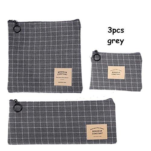 King&Pig 3pcs Grid Stripe Canvas Pencil Pen Case Cosmetic Makeup Coin Pouch Zipper Bag Purse Pen -