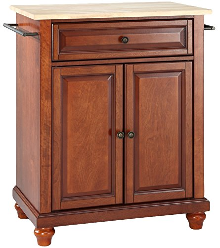 Crosley Furniture Cambridge Cuisine Kitchen Island with Natural Wood Top - Classic Cherry