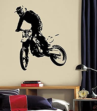 CreativeWallDecals Wall Decal Vinyl Sticker Decals Art Decor Design Dirty Motocross Motorcycle Jumping Moto Sport Extrime Kid Children Bedroom(r1362)
