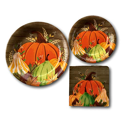 Thanksgiving Fall Harvest Pumpkin Party Paper Plates and Napkins Bundle - Party Pack Includes Disposable Dinnerware Plates - Pumpkins Gourds Dessert Plates and Napkins