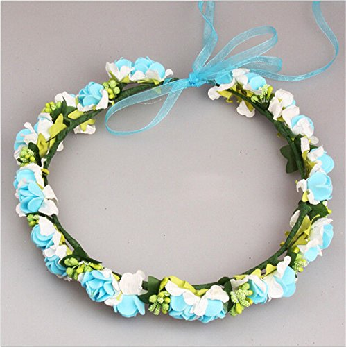 MIJORA-Rose Flower Crown Headband Wedding Prom Beach Floral Garland Hairband For (Crown Portable Grill)