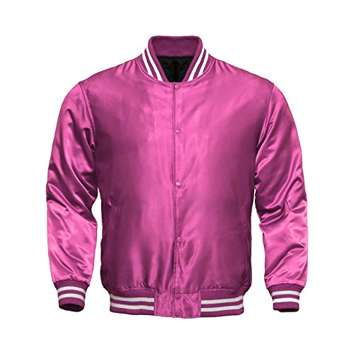 - Genz Women Varsity Jacket Bomber Satin Polyester Vintage Retro Zip Ladies Casual Jacket (Small)