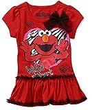Sesame Street Little Girls Short Sleeve Ruffle Elmo Tee Shirt