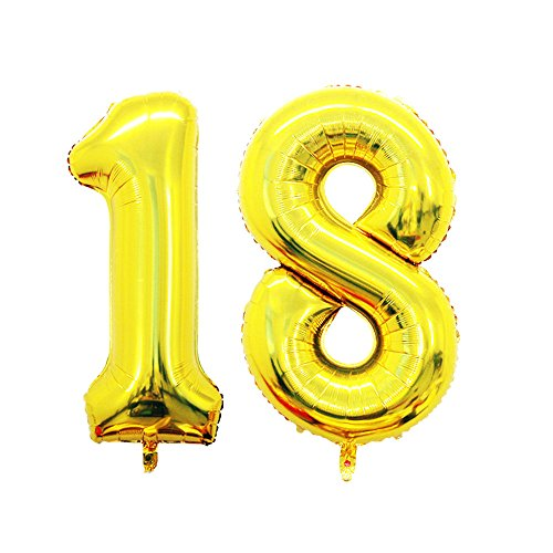 GOER 42 Inch Gold Number 18 Balloon,Jumbo Foil Helium Balloons for 18th Birthday Party Decorations and 18th Anniversary Event for $<!--$6.99-->