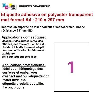 15 ex Etiquette adhésive en polyester transparent mat laser A4 210 x 297 mm pour imprimante laser autocollant pour tout support lisse (plastique, verre, métal) résistante à l'humidité et la