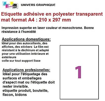 15 adhesivo hoja de etiquetas transparentes de poliéster MAT ...