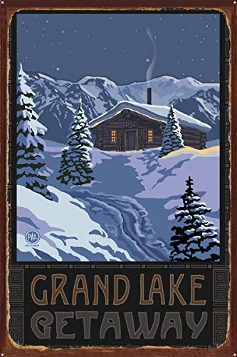 Grand Lake Colorado Getaway Winter Mountain Cabin Rustic Metal Art Print by Paul A. Lanquist (24
