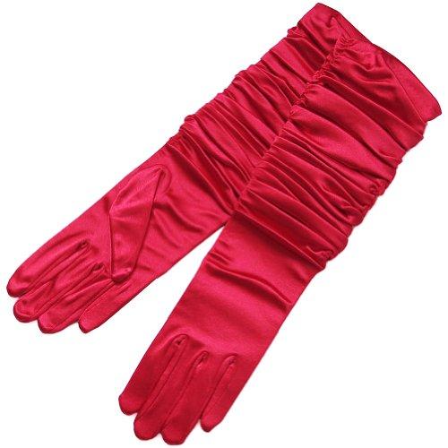 Red Gathered Satin (ZaZa Bridal Gathered Shiny Stretch Satin Dress Gloves-One Size Fits Most-Red)