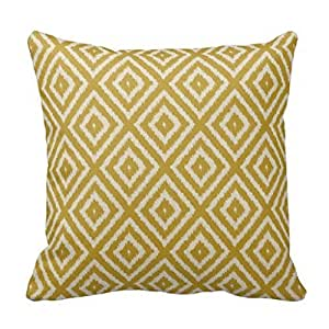 Lfarncomboutlet Ikat Diamond Pattern Mustard Yellow and Cream 1220 Decorative pillow Pillowcase Pillow 18x18 inches