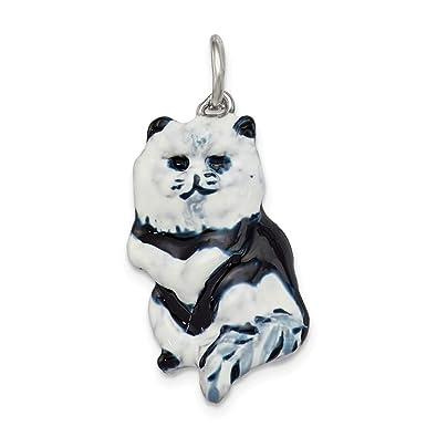 Colgante de plata de ley 925 sólido esmaltado negro & blanco gato encanto (mm x