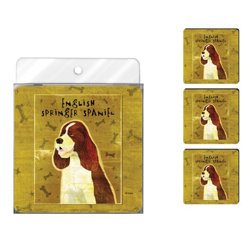Tree-Free Greetings NC37984 John W. Golden 4-Pack Artful Coaster Set, English Springer Spaniel