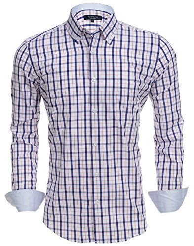 - YEAR IN YEAR OUT Mens Button Down Shirts Long Sleeve Mens Dress Shirts Fitted Fit(LS02, M)