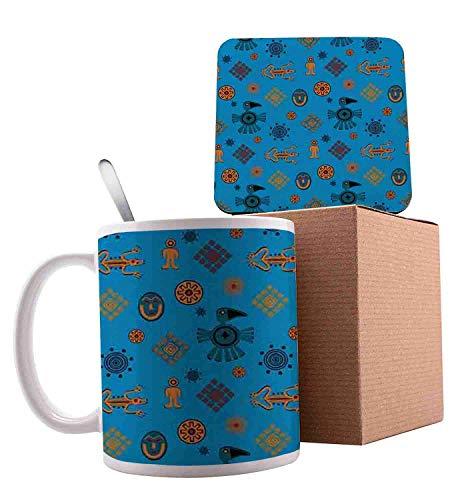 Ethnic Mexican Motifs Latin American Culture Toucan and Gecko Lizard Petrol Blue Orange and Blue Ceramic Cup with Spoon & Coaster Creative Morning Mug Milk Coffee Tea Unique Porcelain Cup Mug 11oz