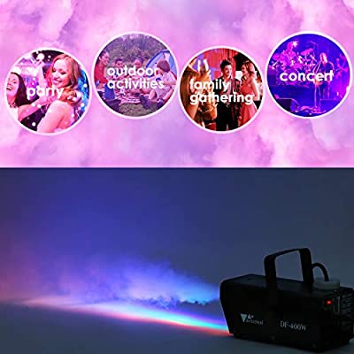 Amzdeal Fog Machine, Portable Smoke Machine with LED Lights Equipped with Wired and Wireless Remote Control Suitable for Home, Party, Christmas, Halloween and Weddings (400W) by amzdeal