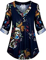 Hibelle Women's Roll-up Long Sleeve V-Neck Casual Flowy Tunic Blouse