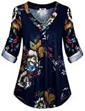 Hibelle Flattering Tops for Women, Stylish Floral Three Quarter Cuffed Sleeve Fitted Business Casual Office Floating Shirt Blouse Pretty Buttons V-Neck Pleated Plus Size Tunic Blue XXL