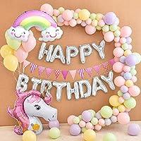 MMTX Unicornio Fiesta Decoración para mujer niña cumpleaños Fiesta,3D Unicornio Globos Cake Toppers Macaron Fiesta Globos Pennant Banner para Fiesta ...