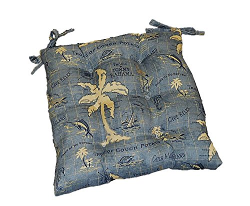 Resort Spa Home Decor Indoor/Outdoor Tommy Bahama Island Song - Blue Universal Tufted Seat Cushion with Ties for Dining Patio Chair - Choose Size (21