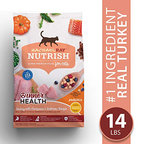 Rachael Ray Nutrish Premium Natural Dry Cat Food, Inner Health Turkey with Chickpeas & Salmon Recipe, 14 Lbs