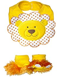 Chomp & Stomp Lion Bib and Booties Gift Set, Yellow, 0-9 Months