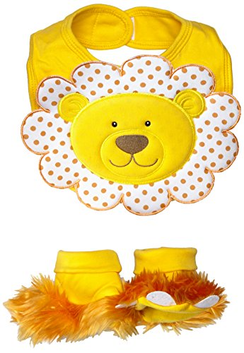 Absorbent Terry Cloth Pullover (Baby Aspen, Chomp & Stomp Lion Bib and Booties Gift Set, Yellow, 0-9 Months)