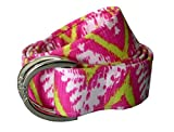 kids d ring belt - No27 Girls Colorful Pink Madras D-Ring Fabric Belt Large Pink