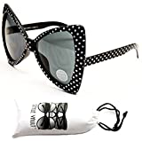 Wm529-vp Cateye Butterfly Oversized Sunglasses (S1119V Black/White Dots, uv400)