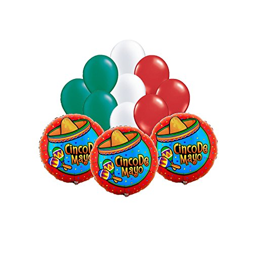 nco de Mayo Mylar/Foil and Latex Balloons Bouquet 12pc ()