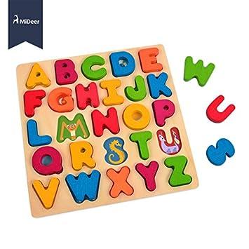 EduToys MiDeer ABC Animal Large Wooden Colourful Alphabet Puzzle Board Match Game Educational Toys