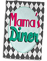 3dRose InspirationzStore Typography - Mamas Diner on Black Retro hot Pink Turquoise Teal Blue 1950s Style 50s Fifties Kitchen Mothers Day - 15x22 Hand Towel (TWL_151658_1)