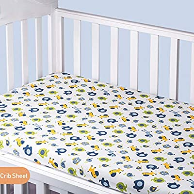 """Vonty Cartoon Printed Mini Crib Sheet Soft Crib Fitted Sheets for Baby and Girls, All Seasons Use (Horse, 24""""x38"""")"""