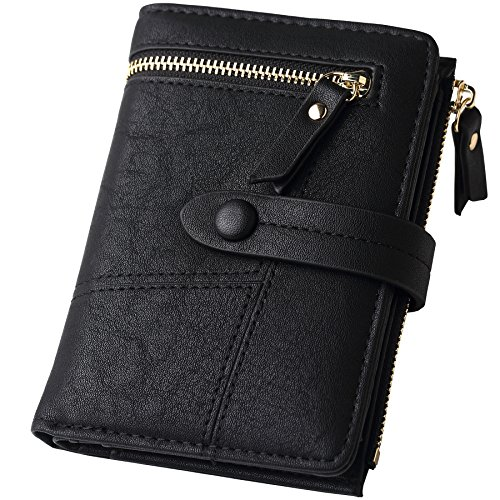 (Womens RFID Blocking Black Leather Organized Wallets Purse Compact Bifold Clutch for Girls)